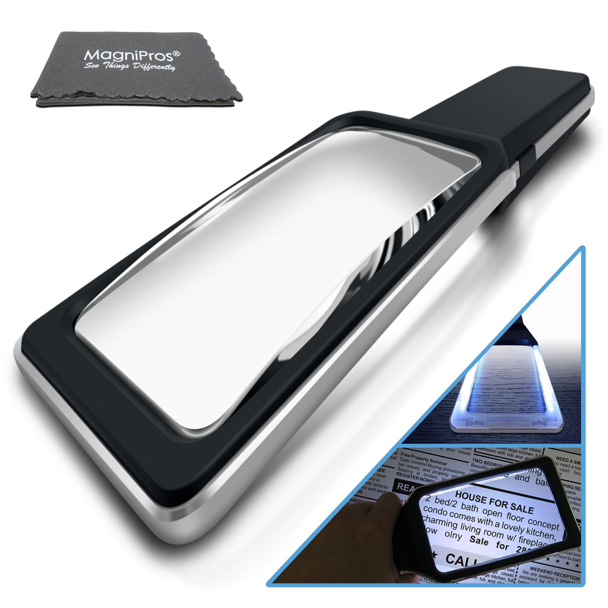 3X Large Reading Magnifying Glass with 10 Dimmable Anti-Glare LEDs (Provides Evenly & Comfy Lighting for Your Eyes) Ideal for Small Prints, Low Vision, Seniors with Aging Eyes & Read Easily at Night