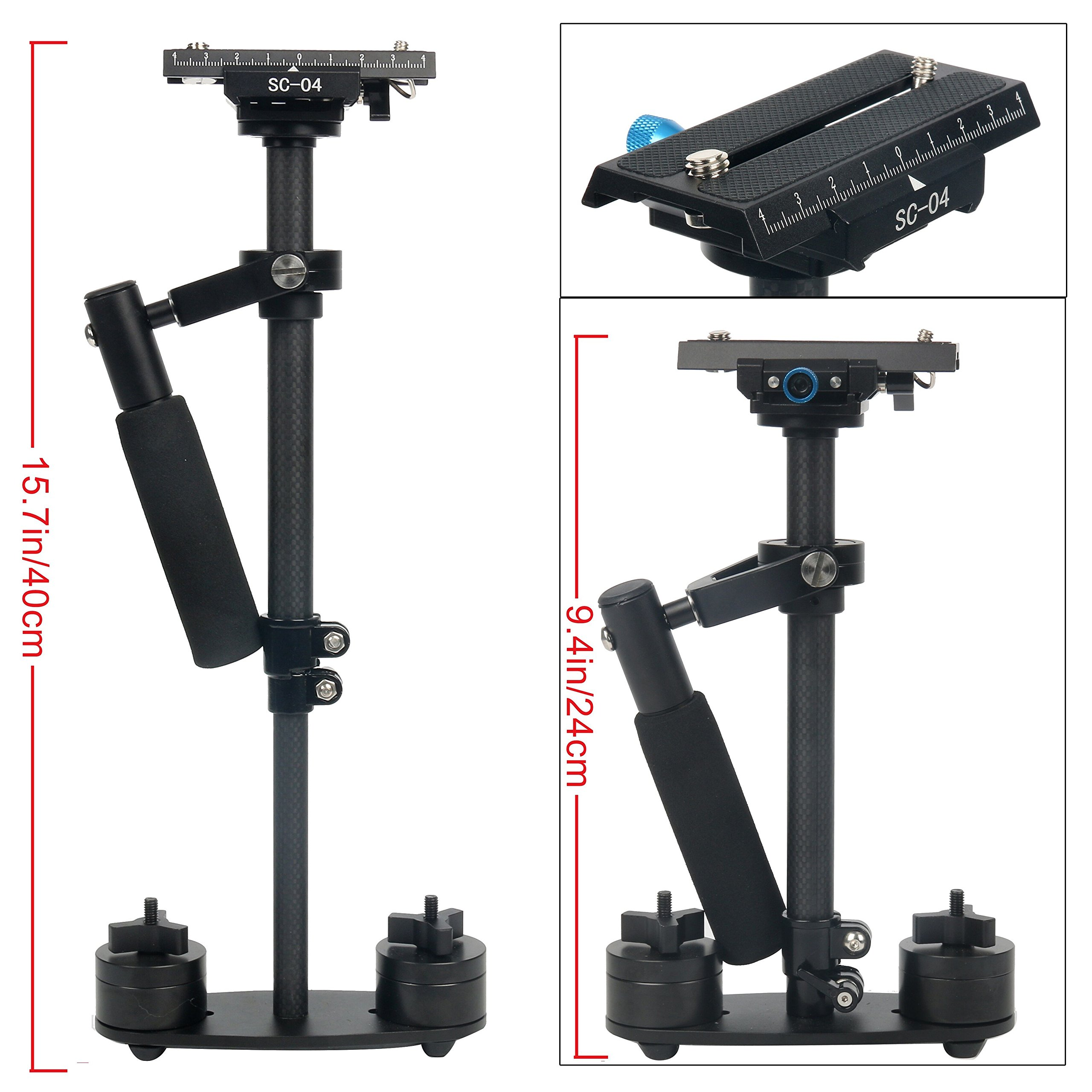 """YaeCCC 15.7''/40CM Carbon Fiber Handheld Camera Stabilizer-S40T Video Steadycam with Quick Release Plate 1/4"""" and 3/8"""" Screw for Canon Nikon Sony Panasonic Olympus DSLR Camera GoPro DV"""