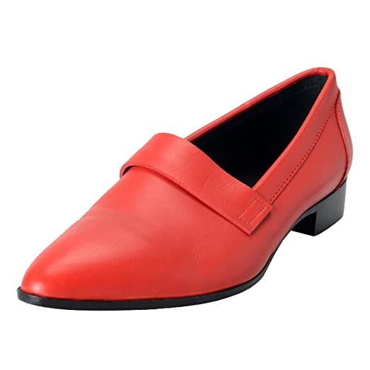 Homme Men's Red Leather Dress Loafers Shoes US 12 IT 45