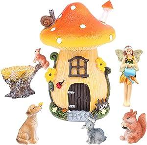 JiaUfmi 6-Pack Mini Garden Miniatures-Garden Outdoor Ornaments Fairy, Dog, Rabbit, Squirrel, Mushroom House Garden Statue-Waterproof Resin Dwelling Ornament