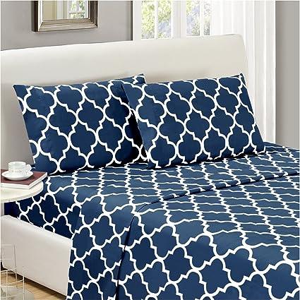 Mellanni Bed Sheet Set Queen Navy Blue   HIGHEST QUALITY Brushed Microfiber Printed  Bedding