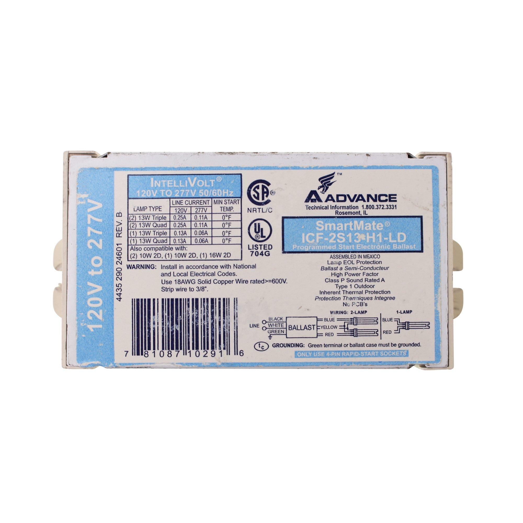 Advance Transformer ICF2S13H1LDK Electronic Ballast, 120-277V, 13 Watts