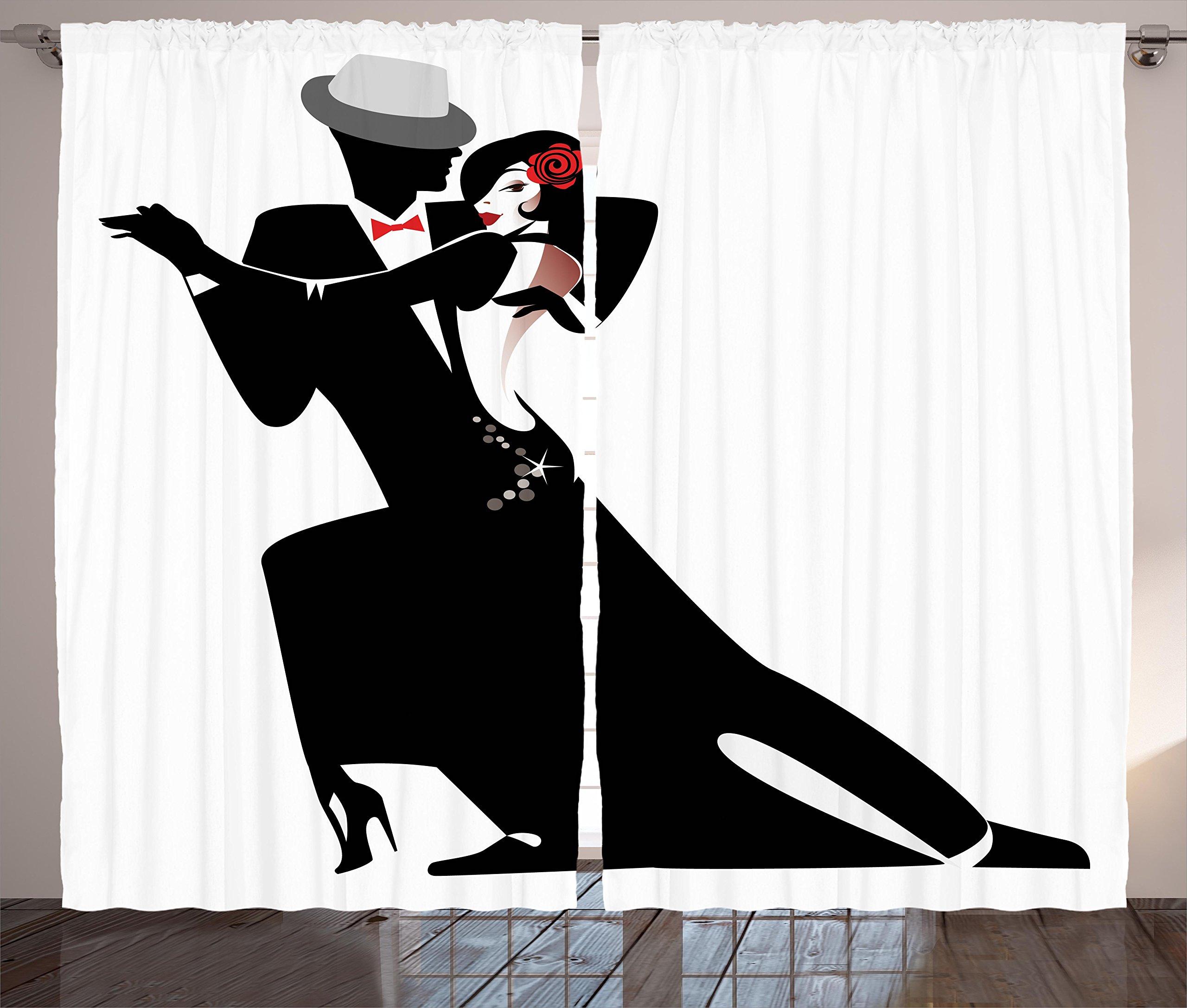 Ambesonne Girls Curtains Decor, Man and Woman Partners Romantic Dance Tango Waltz Love Valentine's Rhythm Music Art, Living Room Bedroom Window Drapes 2 Panel Set, 108 W X 84 L inches, Black White