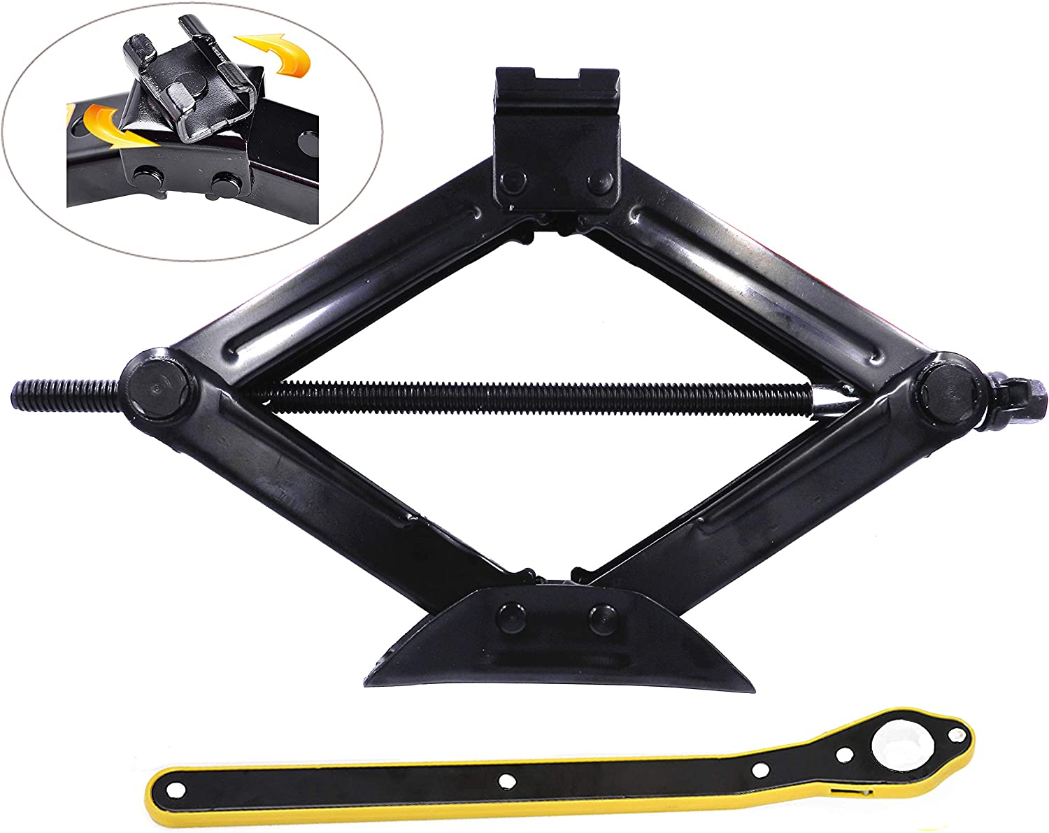 2T HUGE LEADING 4,409 Lbs Capacity Car Scissor Jack with Ratchet Handle Hand Crank Portable RV Stabilizers 2 Tons