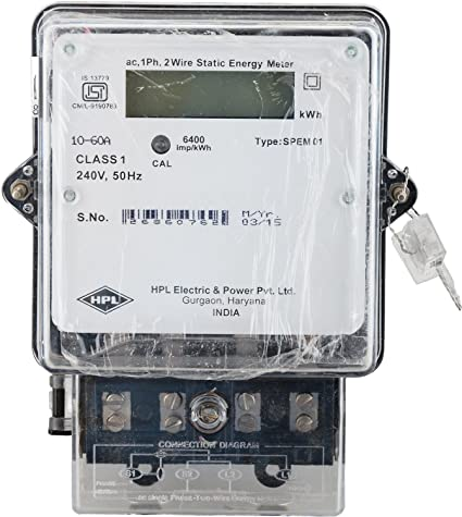 HPL 3 Phase 4 Wire Electrical Energy KWH Meter (White, Pack of 1 ...