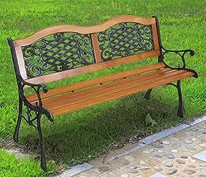 "JOYBASE 50"" Outdoor Bench, Park Bench, Wood and Iron Garden Bench, Patio Bench, Porch Bench, Outside Bench, Yard Bench (Bronze&Natural)"