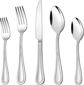 30-Piece Silverware Set, HaWare Stainless Steel Flatware Service for 6, Pearled Edge Tableware Cutlery Include Knife/Fork/Spoon, Beading Eating Utensil for Home, Mirror Polished, Dishwasher Safe