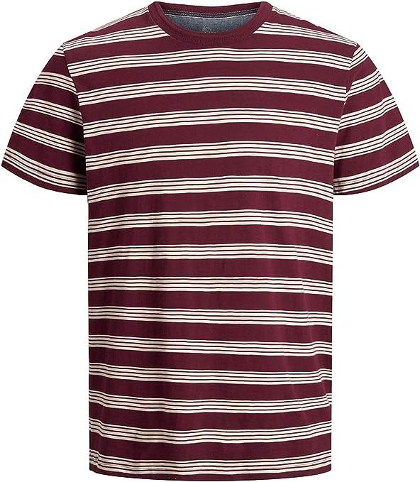 JACK & JONES 12166299 - Camiseta para Hombre, Color Burdeos, Cuello Redondo con microrayas, Rojo, XX-Large: Amazon.es: Deportes y aire libre
