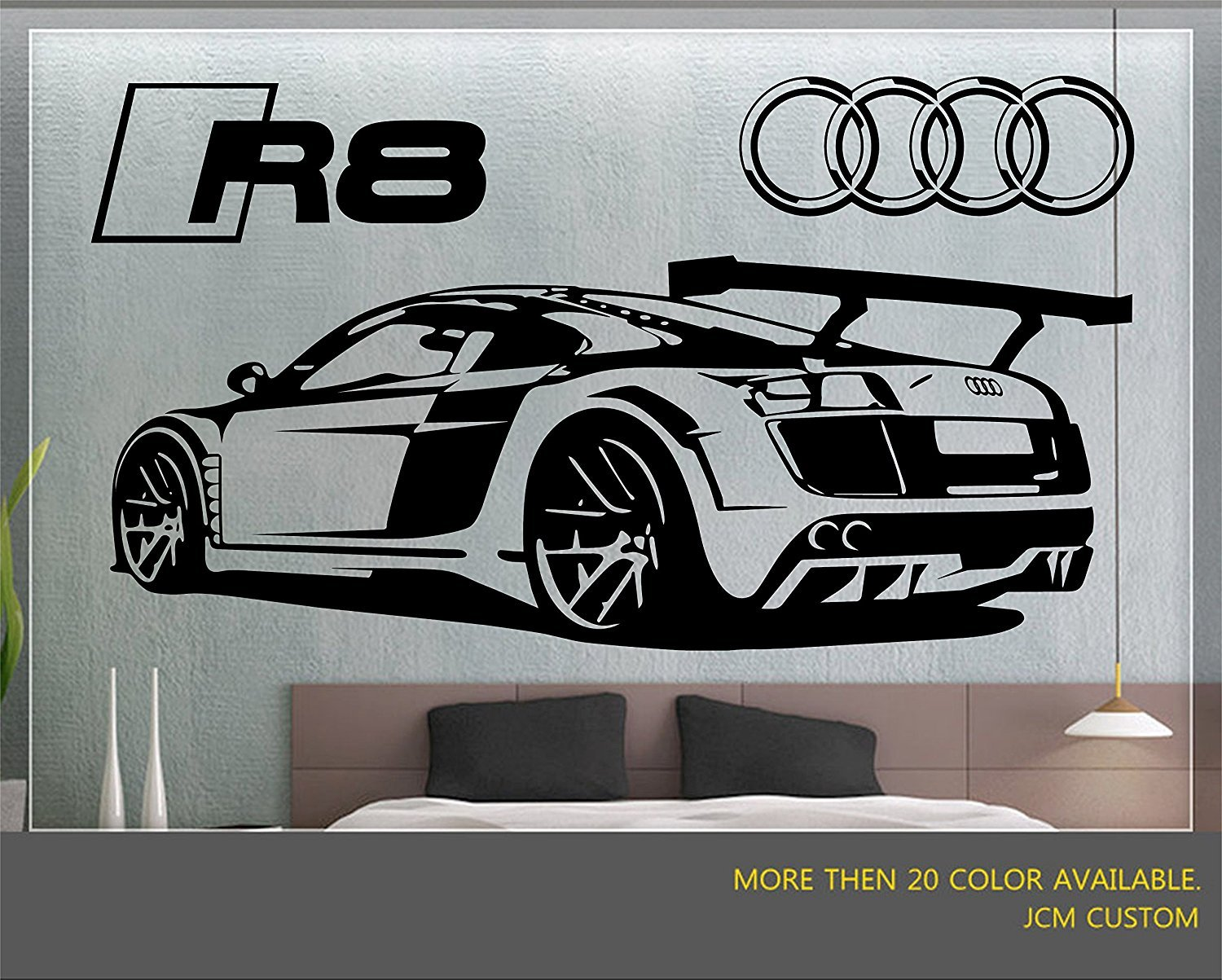 Jcm custom r8 gt racing sport car removable wall vinyl decal stickers 58 x 22 amazon com