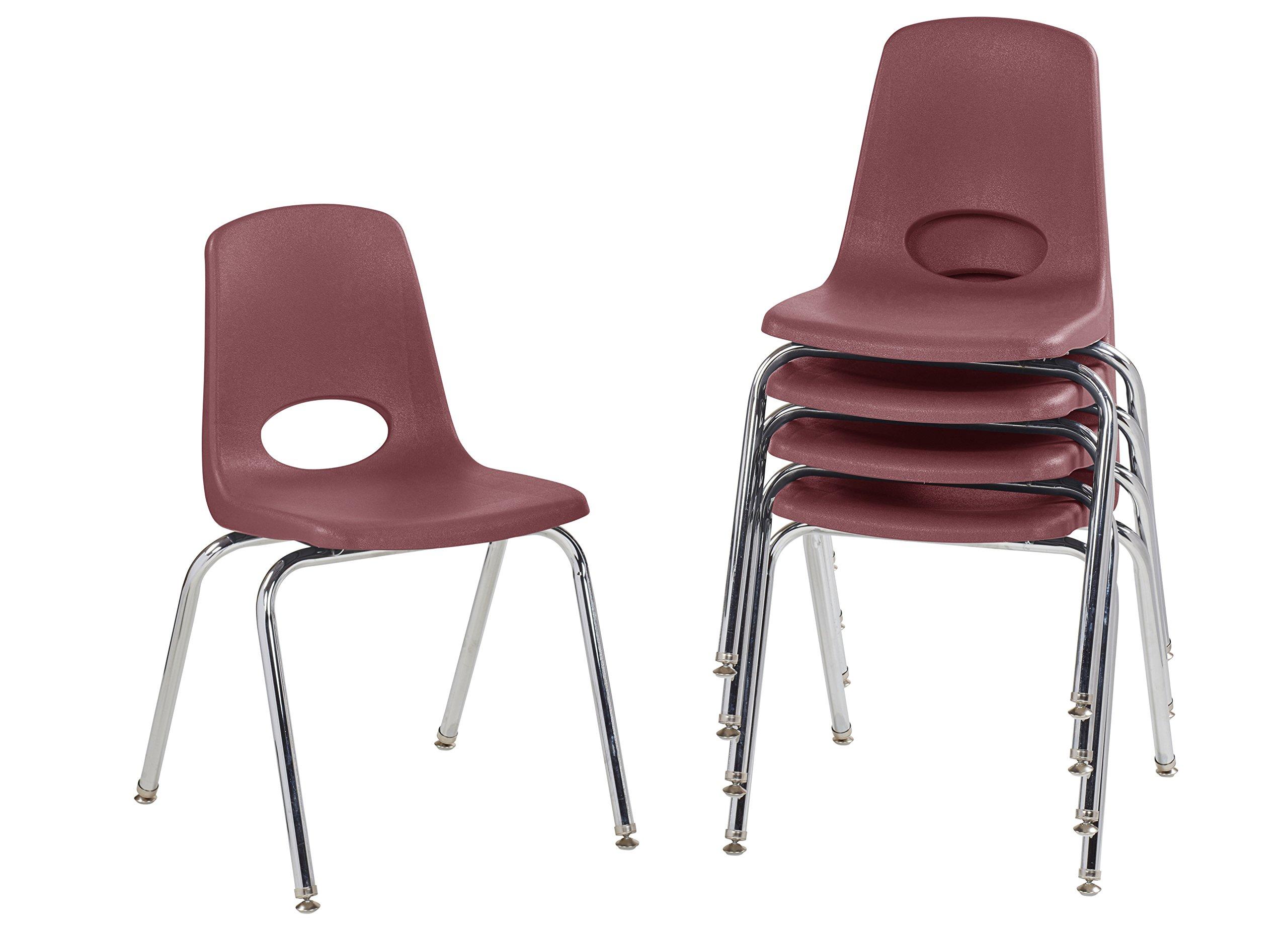 ECR4Kids 18'' School Stack Chair, Chrome Legs with Nylon Swivel Glides, Burgundy (5-Pack) by ECR4Kids