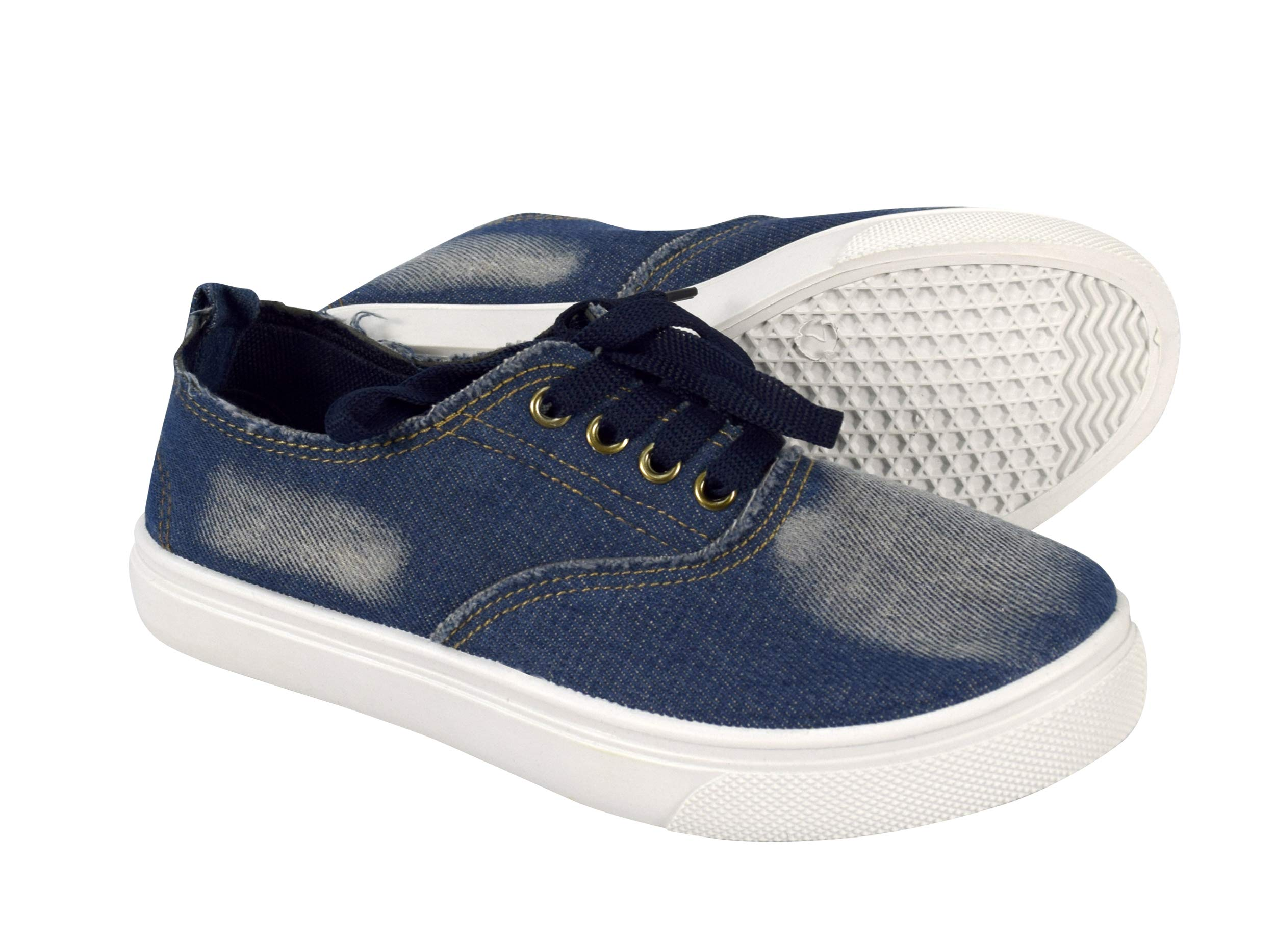 Peach Couture Womens Fashion Distressed Denim Casual Shoes Slip on Sneakers Lace Dark Blue, 10