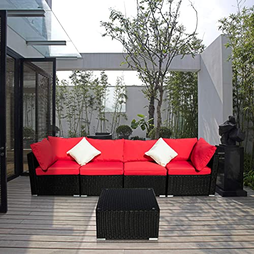 Leisurelife 5 Pcs Outdoor Patio Furniture Set Red, Ratten Sofa with Cushion Pillows and Clips, PE