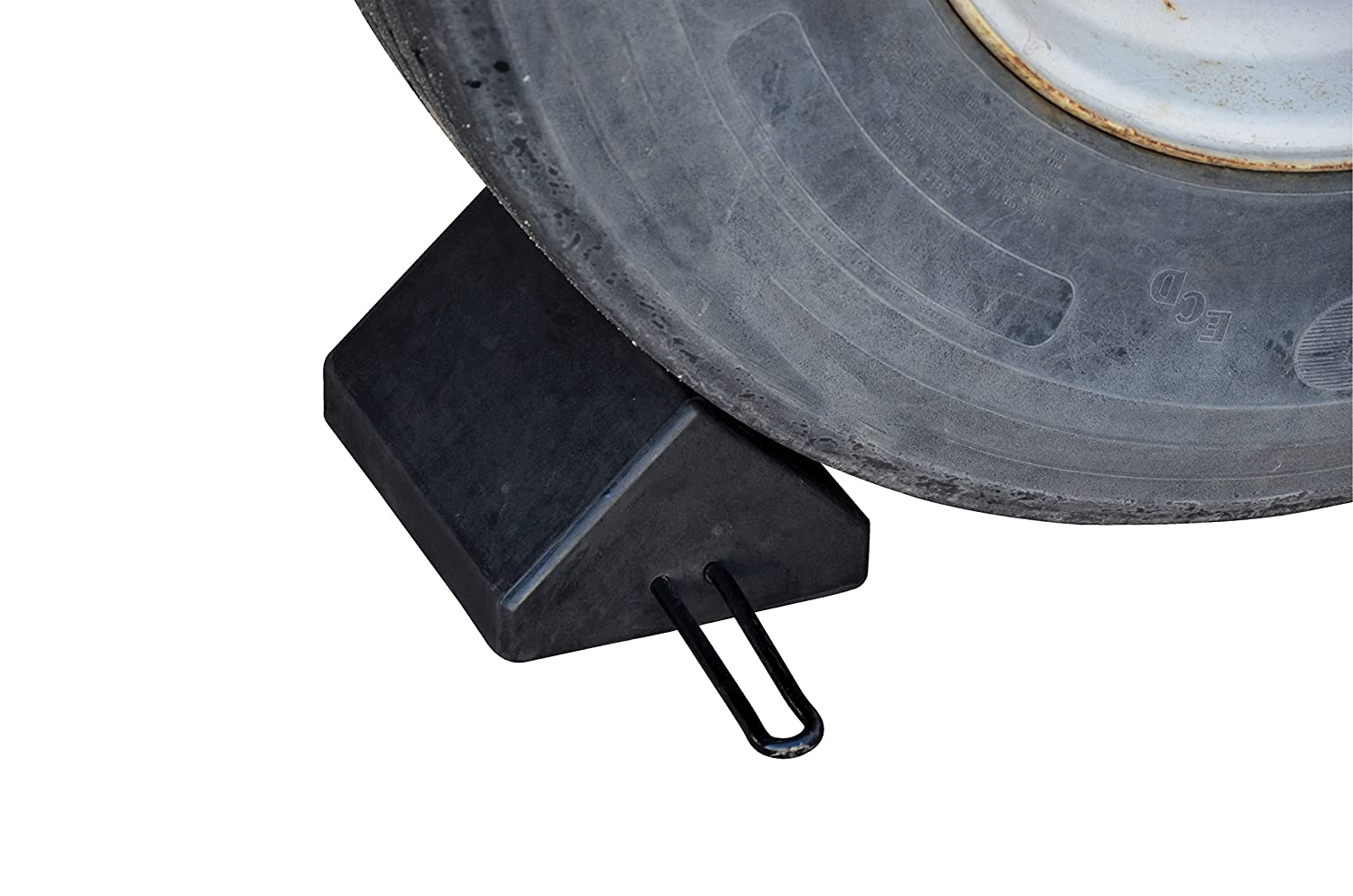 Overall W x L x H Black Vestil RWC-10-HDL Molded Rubber Wheel Chock in. 15-1//2 x 7-3//8