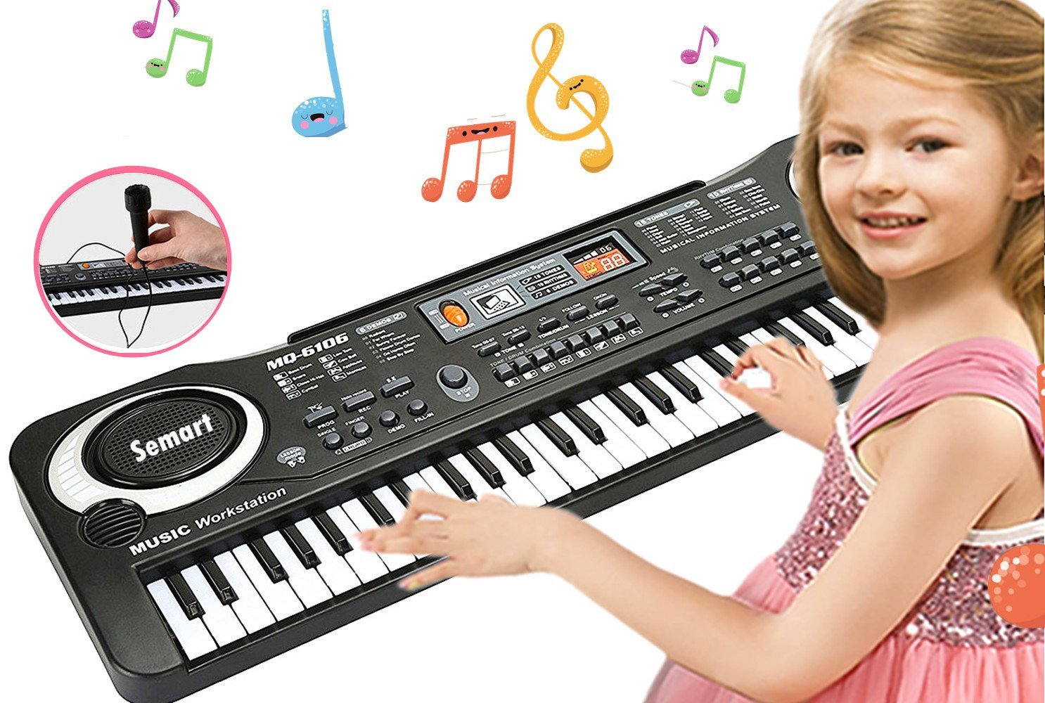 SEMART Piano Keyboard Music Piano Electric Keyboards for kids Musical Instrument USB multi-function w/Microphone Weighted keys Birthday Christmas Festival Gift for children by semart