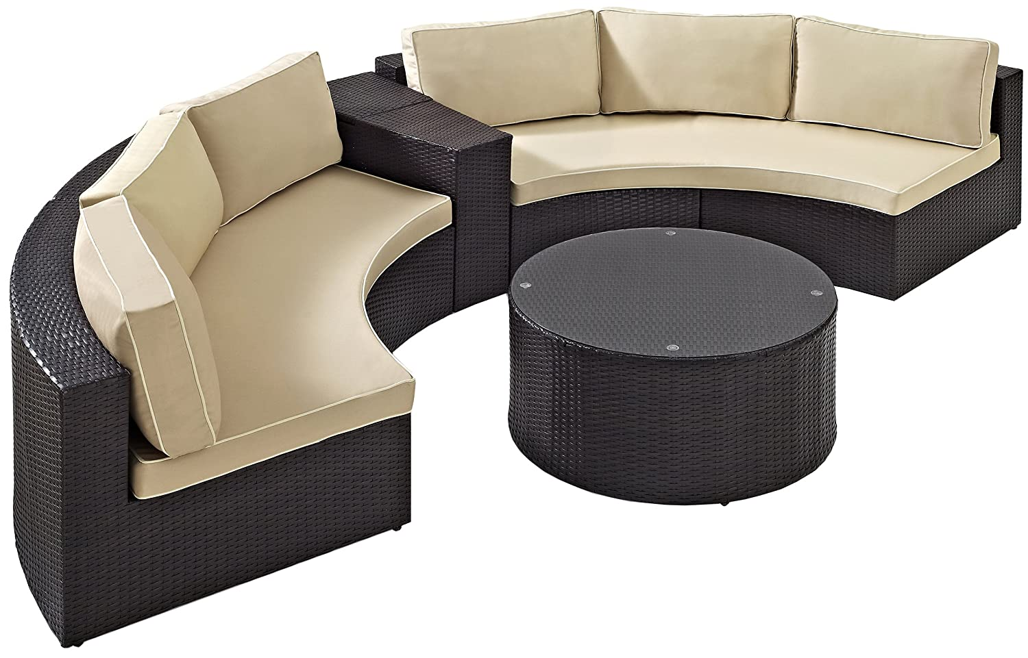 Crosley Furniture Catalina 4-Piece Outdoor Wicker Coffee Table and Sectional Sofa with Sand Cushions – Brown