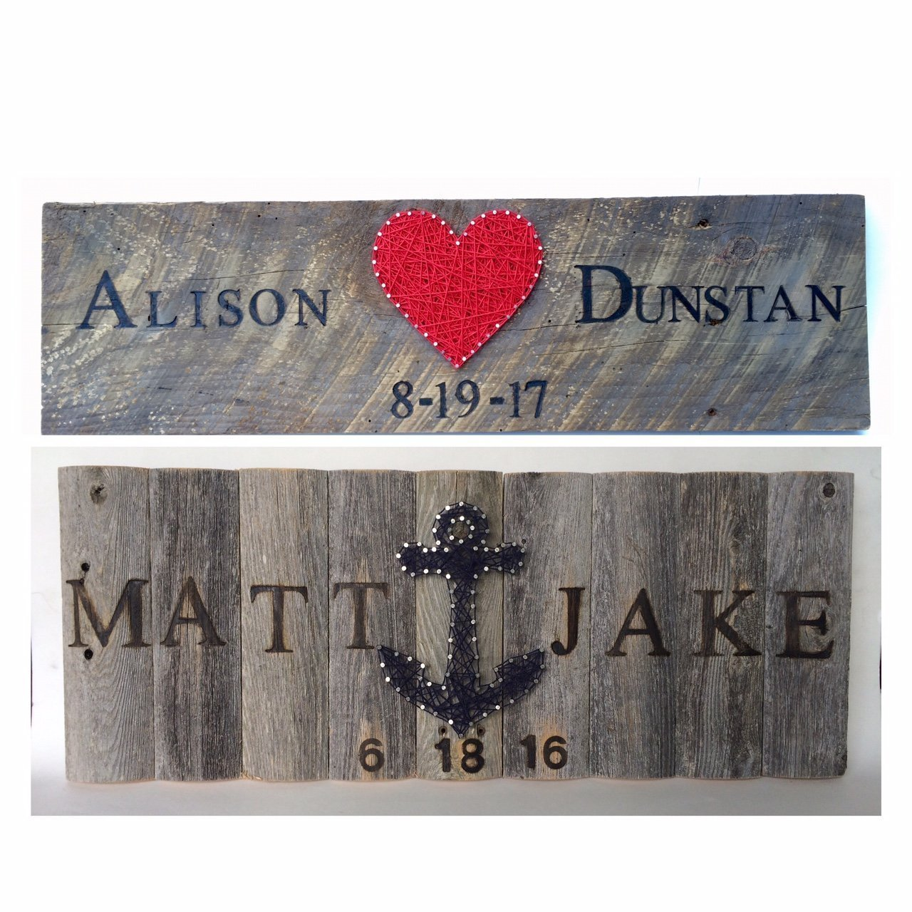 Custom branded wedding sign with string art heart or anchor. Brand names and wedding date for a unique and thoughtful wedding or anniversary gift. Perfect for barn weddings gift tables..