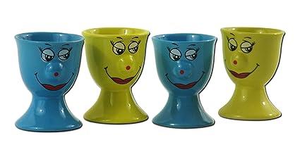 SET of 4 Egg Cups Yellow Blue Ceramic Egg Holder, Egg Cups