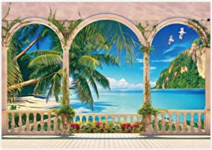 Allenjoy 7x5ft Tropical Garden Beach Photography Backdrop Summer Ocean Seaside Palm Leaves Natural Photo Background Party Banner Wall Decor Newborn Baby Family Photo Booth Props