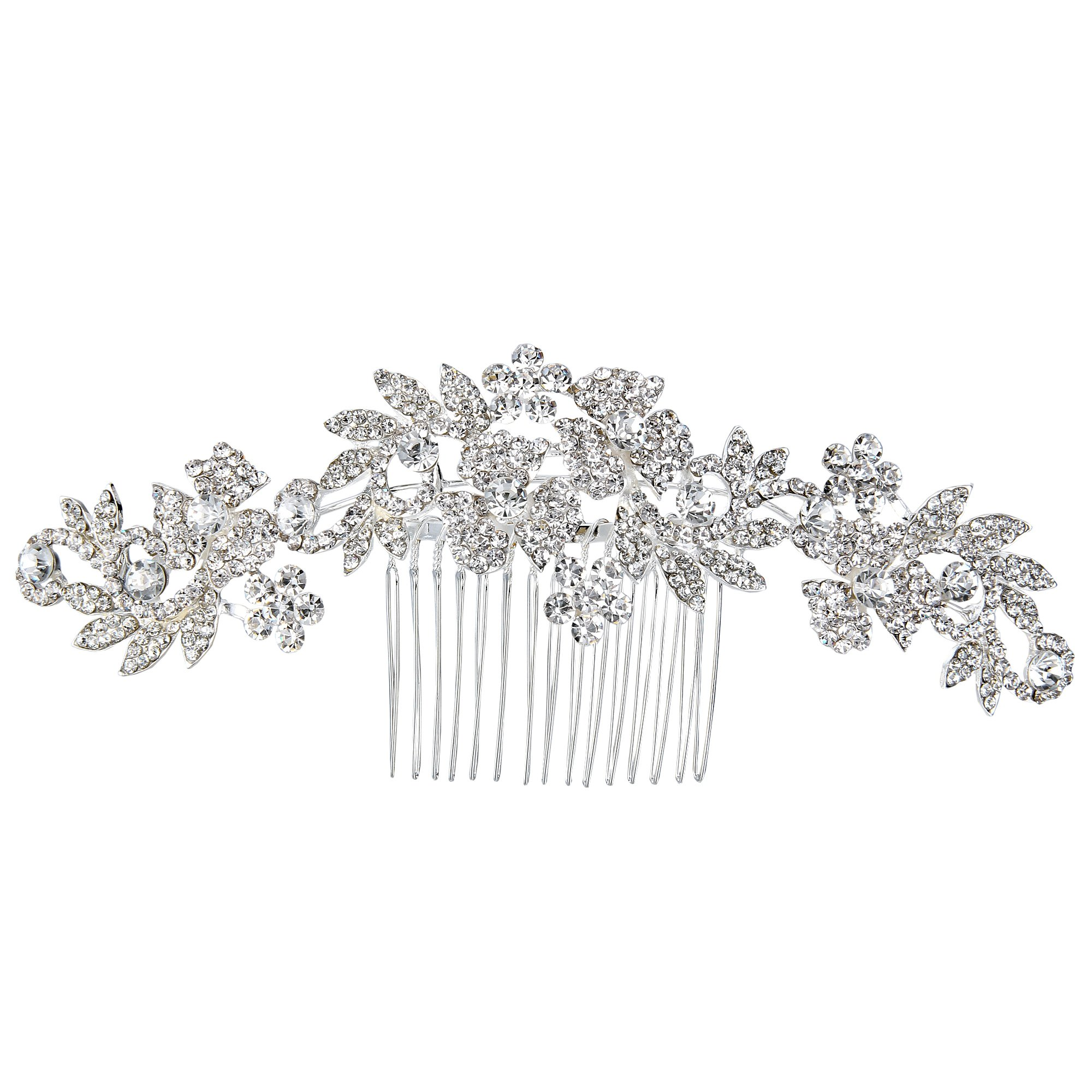 BriLove Wedding Hair Accessories Wedding Hair Comb Bohemian Boho Crystal Cluster Flower Vine Leaf Bling Comb for Bride and Women Clear Silver-Tone