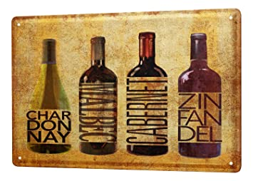 Amazon.com: Cartel de chapa Alcohol Retro Vino Cocina: Home ...