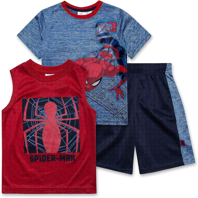 Spiderman Shirt Tank Top & Shorts 3 Piece Set Summer...