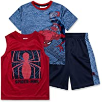 Spiderman Shirt Tank Top & Shorts 3 Piece Set Summer Active-wear Bundle Clothes for Boys