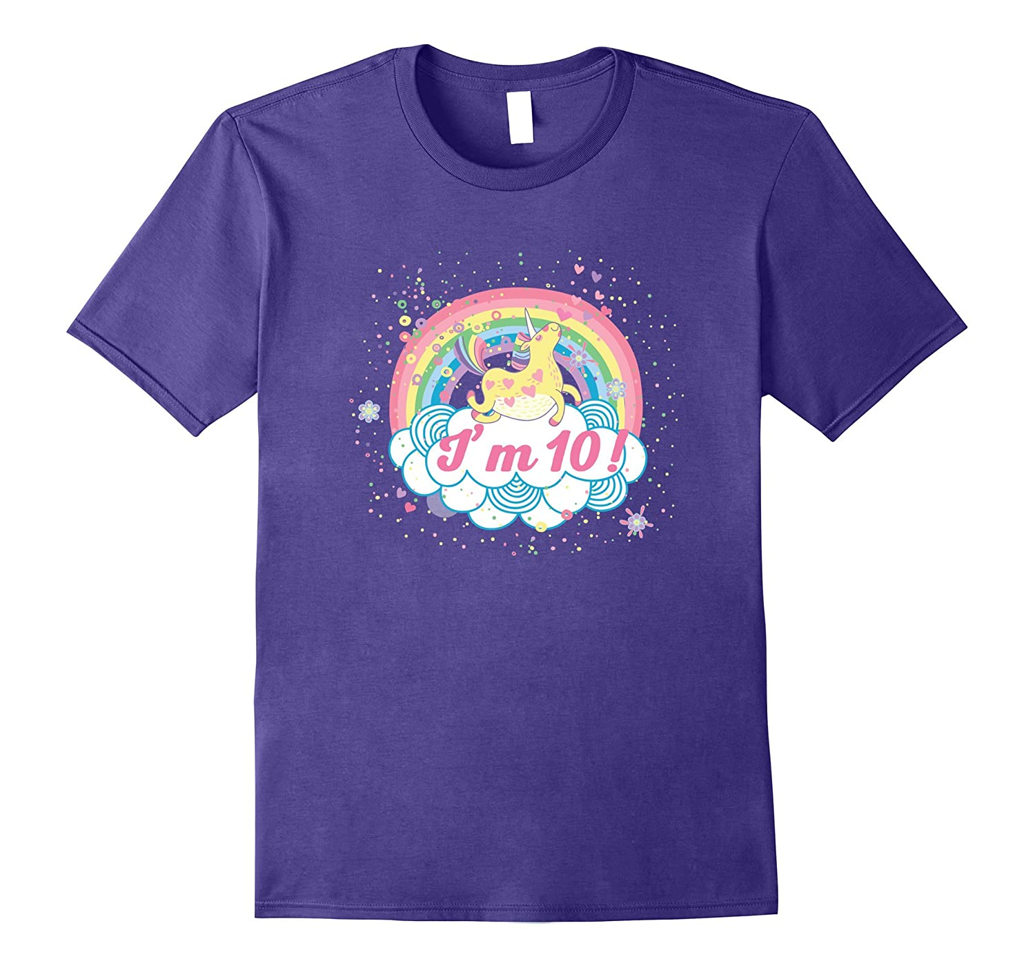 10th Birthday Shirt Girls Unicorn Rainbow Cute Party Tee-TH
