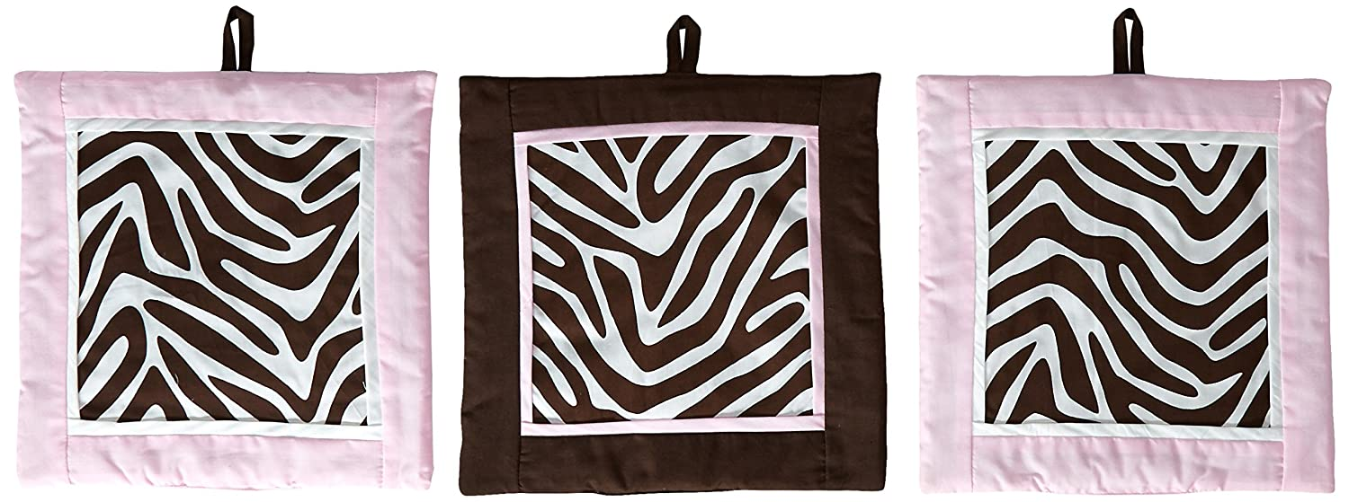 Pam Grace Creations Set of 3 Wall Hangings, Zara Zebra WH-ZEBRA