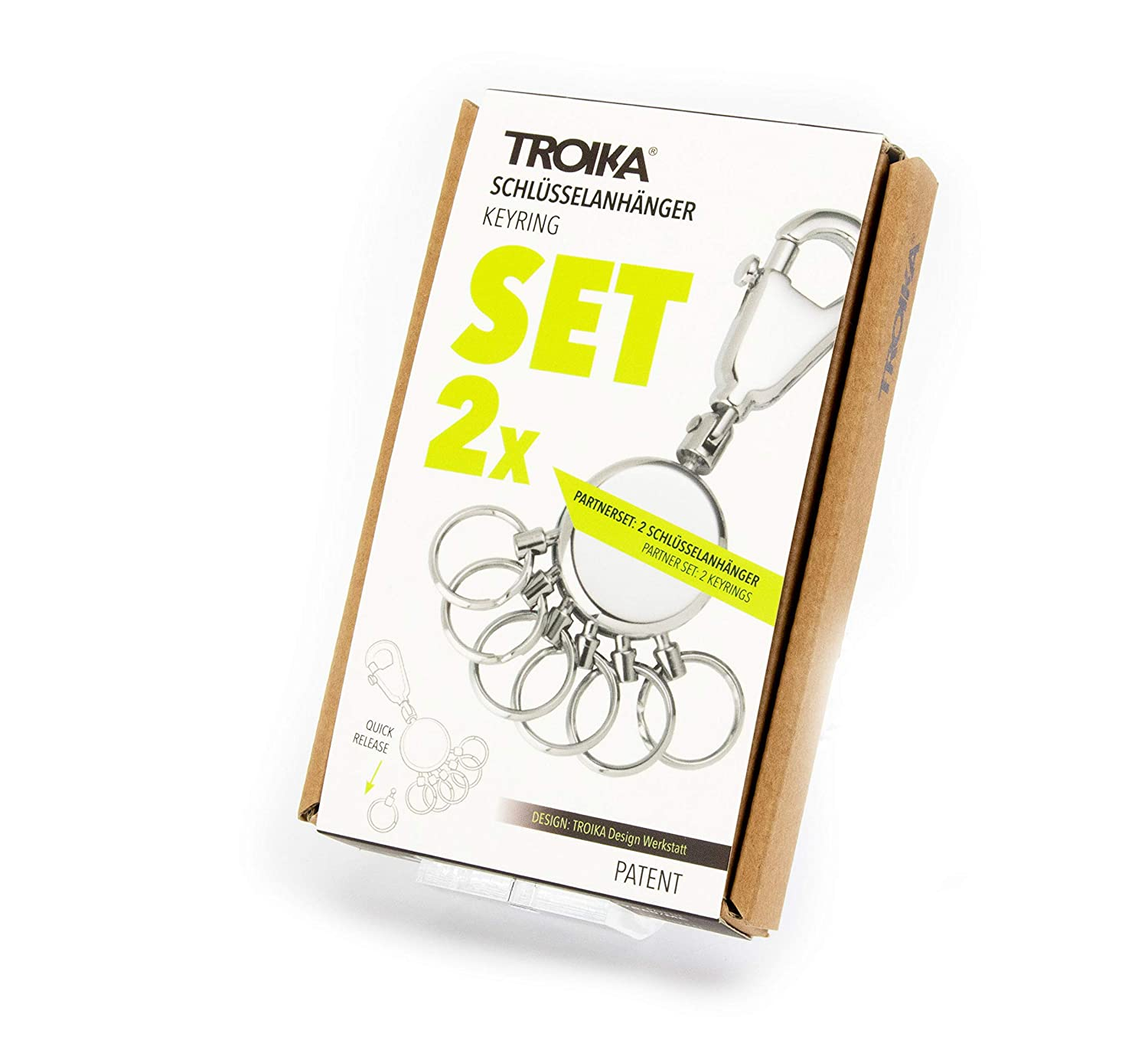 TROIKA PATENT – -TB-KYR60/MC – Keyring – incl. Carabiner – 6 exchangeable rings – metal/brass– matt – chrome plated – silver – TROIKA-original