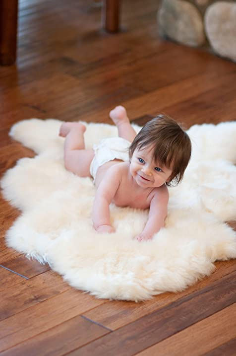 Superb Overland Long Wool Sheepskin Baby Rug, CREAM, Size 1 Size