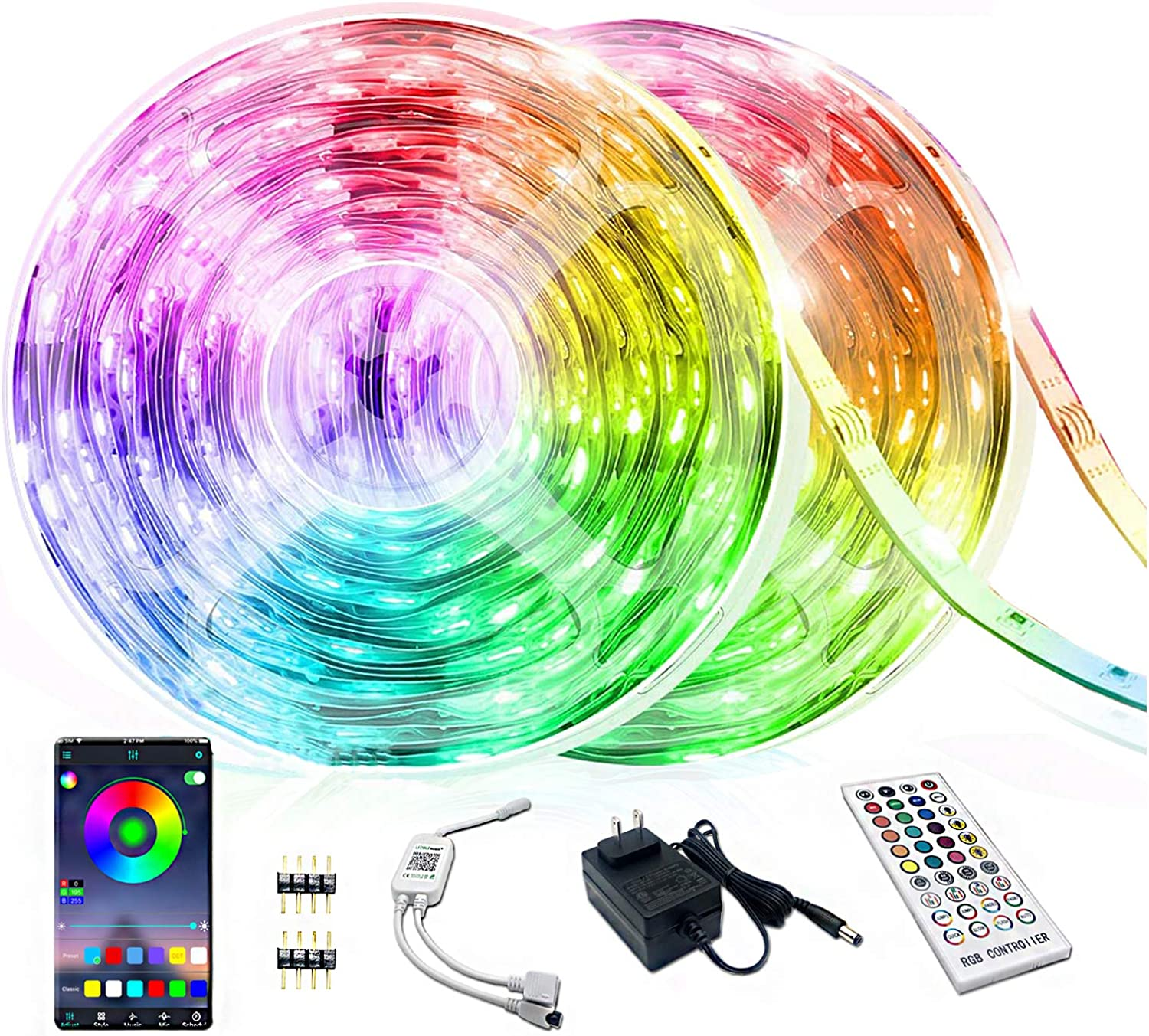 Smart LED Strip Lights Bluetooth 32.8FT, YUMQUA RGB Led Light Strip Music Sync Color Changing, Built-in Mic, App Control + Remote, 5050 300 LEDs Tape Lights for Bedroom, TV, Party and Home