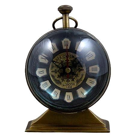 Antiguo reloj de mesa retro vintage Round metal tabla reloj número romano reloj para oficina casa