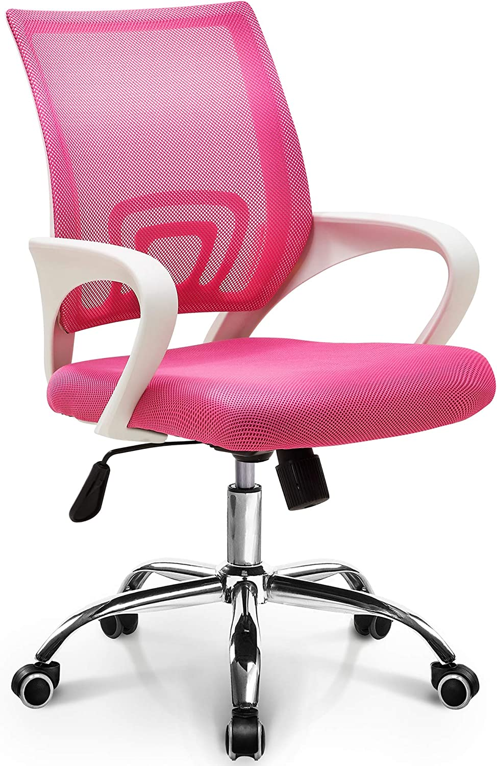 Amazon Com Neo Chair Office Chair Computer Desk Chair Gaming Ergonomic Mid Back Cushion Lumbar Support With Wheels Comfortable Pink Mesh Racing Seat Adjustable Swivel Rolling Home Executive Furniture Decor