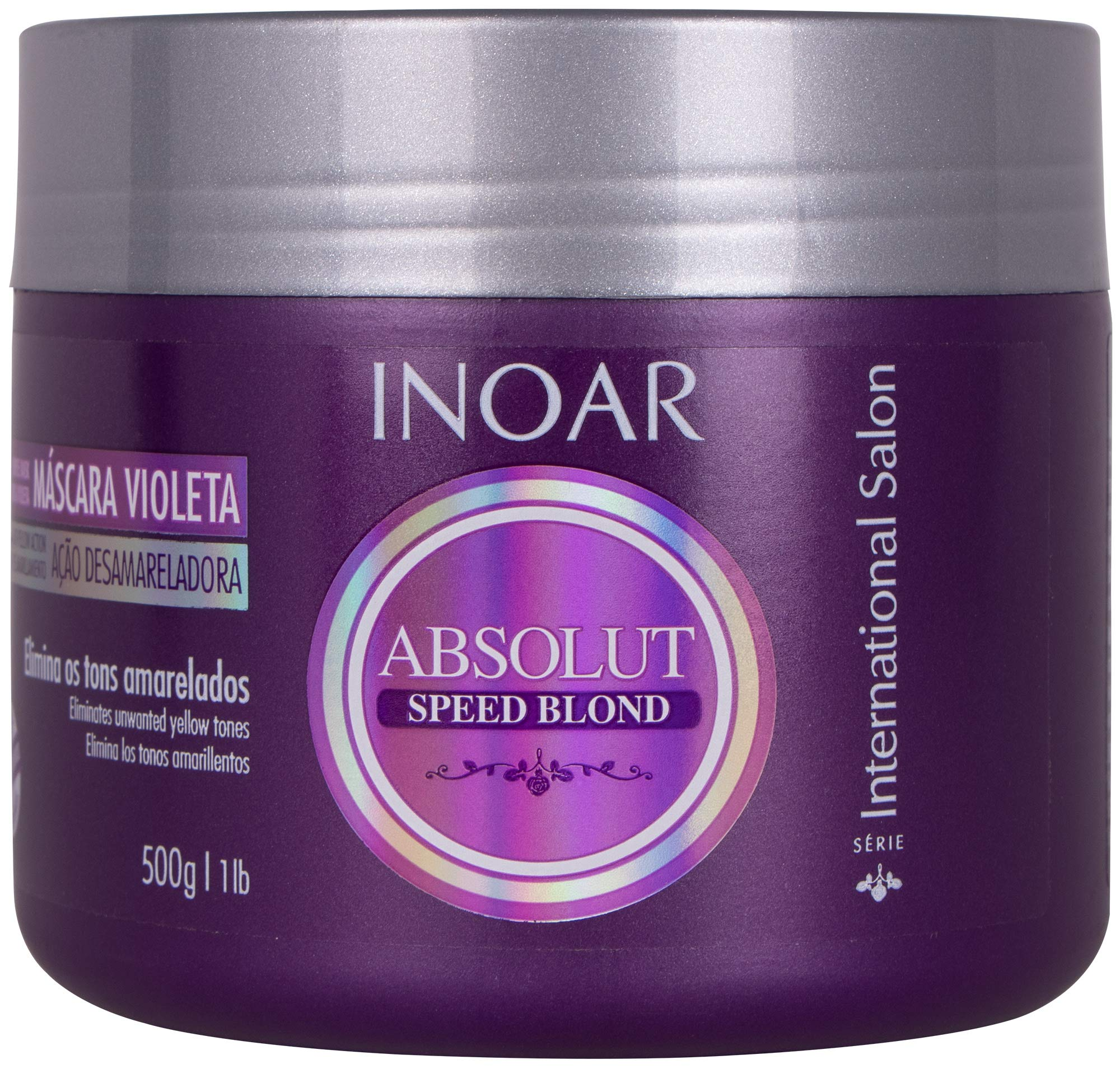 INOAR PROFESSIONAL - Speed Blond Mask - Anti-Yellowing Nourishing Treatment For Bleached, Blond, Brassy & Gray Hair Types (16 Ounces / 500 Grams) by Inoar