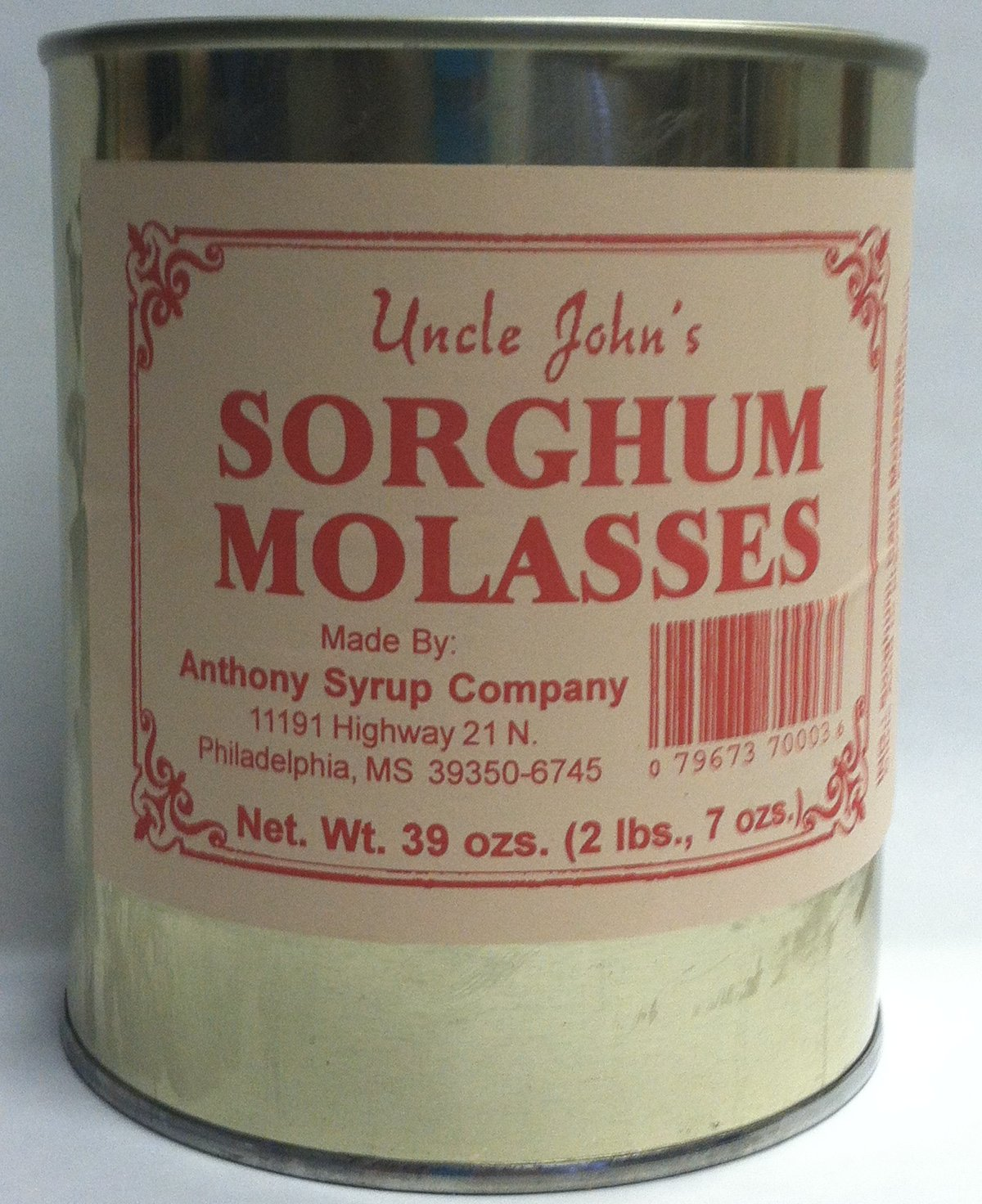 Uncle Johns Sorghum Molasses in a Metal 30 FL Ozs Can