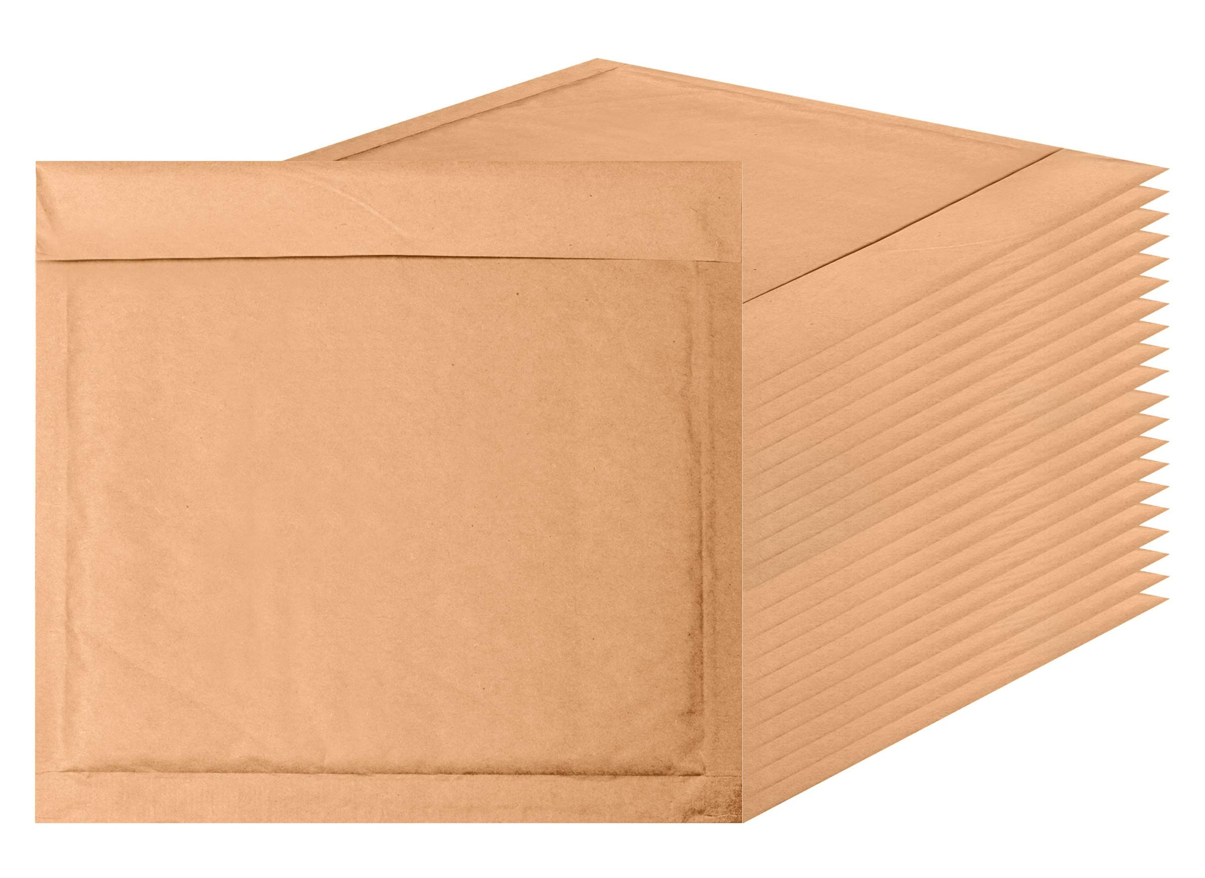CD Size Natural Kraft Bubble mailers 7.25 x 7 Brown Padded envelopes 7 1/4 x 7 by Amiff. Pack of 20 Kraft Paper Cushion envelopes. Exterior Size 7.5 x 8 (7 1/2 x 8). Peel and Seal. Mailing, Shipping.