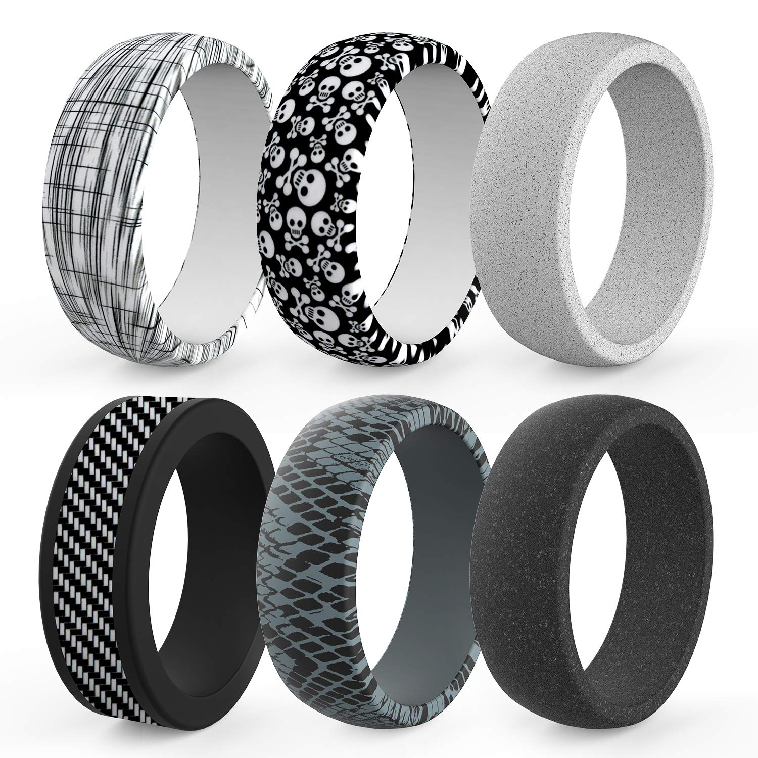 6 Packs Mens Rubber Wedding Bands Durable Skin Safe Antibacterial Rubber Rings/ for Crossfit Workout Zollen Silicone Wedding Ring for Men