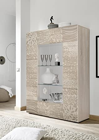 Vitrine 2 Türen Moderne Eiche Hell Mit Siebdruck Wohnzimmer Anrichte Buffet  Mit Türen Design Mira 06