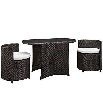 Beau Modway LexMod Katonti 3 Piece Outdoor Wicker Patio Set With 2 Chairs And 2  Tables