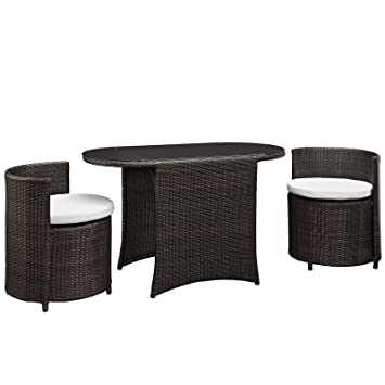 LexMod Katonti 3 Piece Outdoor Wicker Patio Set With 2 Chairs And 2 Tables