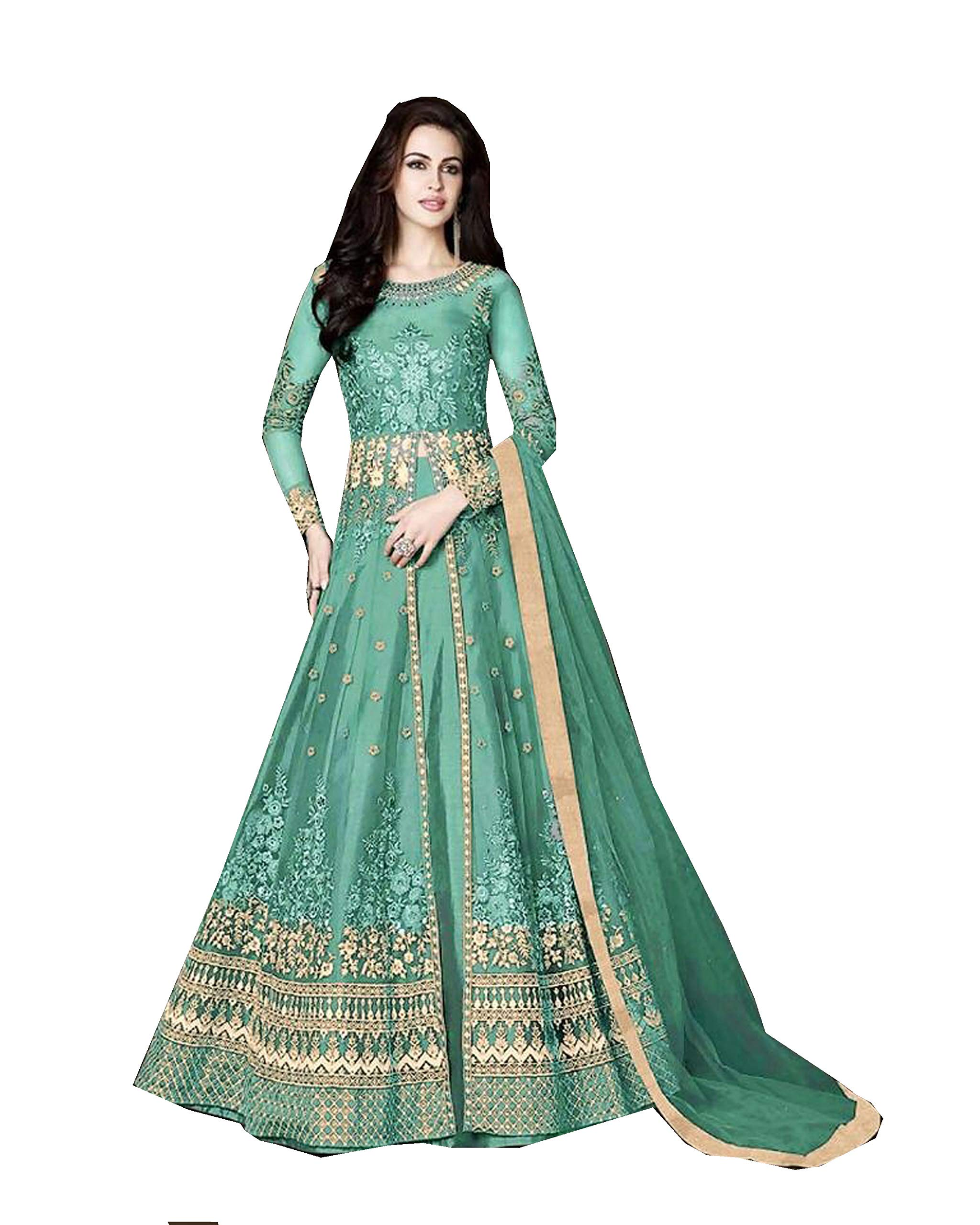 Delisa Indian/Pakistani Bollywood Party Wear Long Anarkali Gown for Womens Razzi 1002 (Turquoise, SMALL-38)