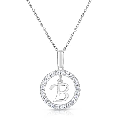 Amazon 925 sterling silver round cz initial pendant with chain 925 sterling silver round cz initial pendant with chain mozeypictures Gallery