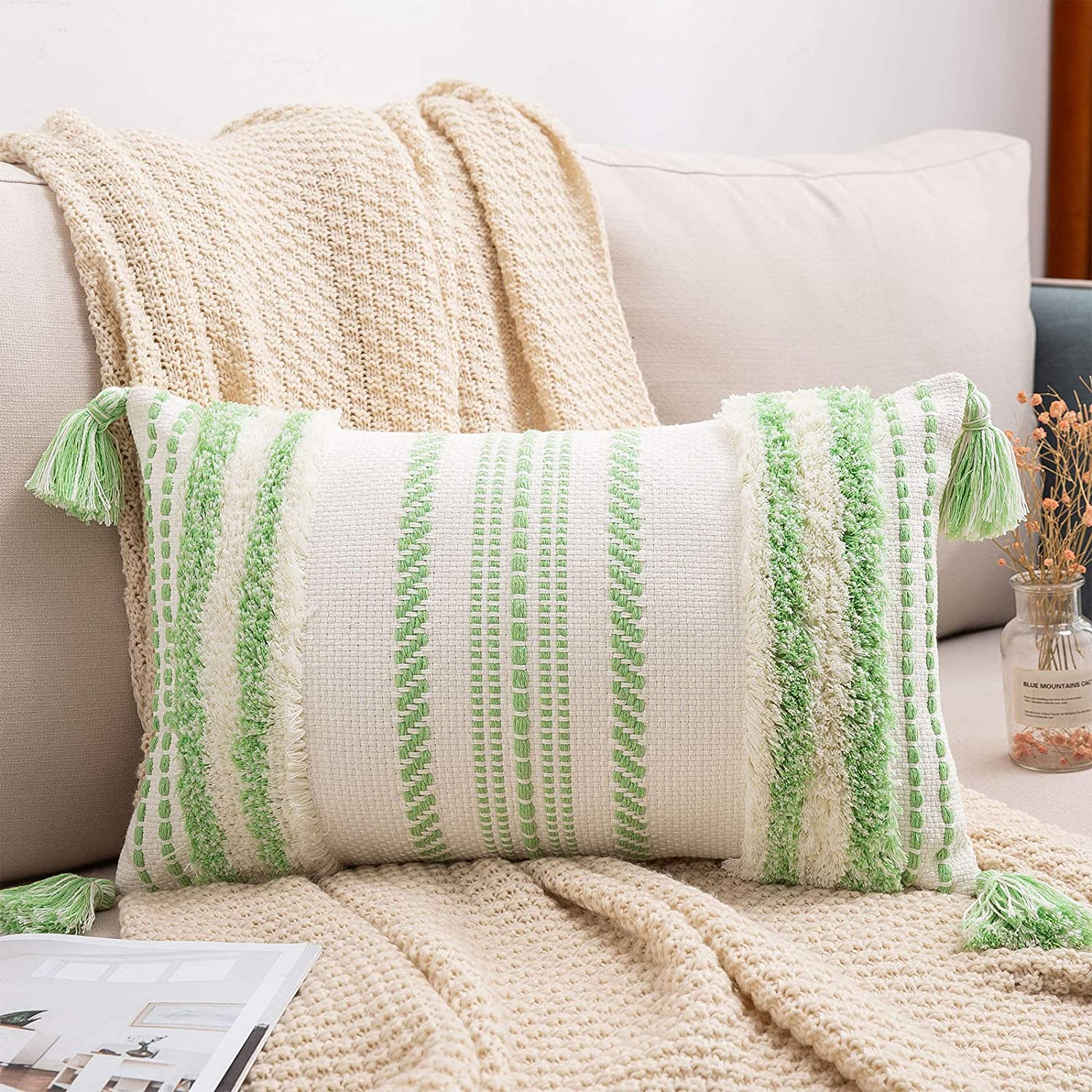 decorUhome Boho Lumbar Decorative Throw Pillow Covers for Bed Bedroom Neutral Accent Cushion Cover Tufted Woven Pillow Case, 12X20, Apple Green