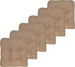 "Sweet Home Collection Chair Cushion Crushed Memory Foam Pads Premium Slip Non Skid Microdot Rubber Back Tufted 16"" x 16"" x 3.25"" Thick Seat Cover, 6 Pack, Taupe"