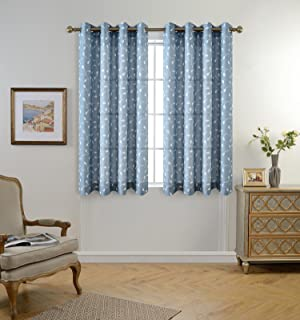 Amazon.com: 1 Piece Solid Light Blue Sheer Curtains Fully Stitched ...