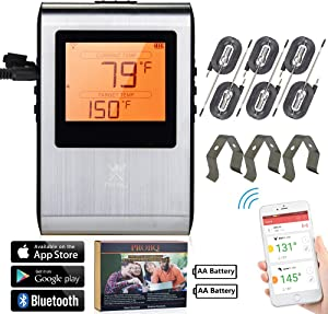 Wireless Meat Thermometer, Smart Bluetooth Digital Cooking, BBQ Grill Smoker Kitchen Oven, High Low and Range Temperature Alerts, Supports IOS Android, Long Distance High Temp, (6)