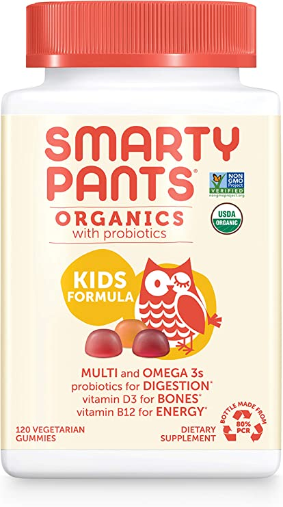 Amazon Com Daily Organic Gummy Kids Multivitamin Vitamin C D3 Zinc For Immunity Biotin Omega 3 From Flaxseed Oil B6 B12 For Energy By Smartypants 120 Count 30 Day Supply Packaging