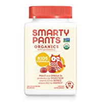 Daily Organic Gummy Kids Multivitamin: Probiotic, Vitamin C, D3 & Zinc for Immunity, Biotin, Omega 3, B6, Methyl B12 for Energy by SmartyPants (120 Ct, 30 Day Supply) Packaging May Vary