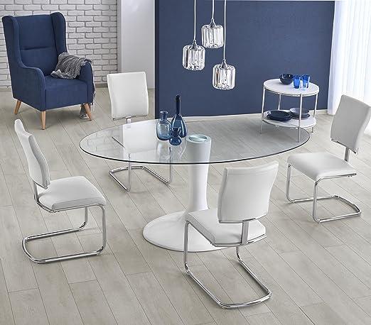Mesa a comedor Oval – L: 180 cm x P: 100 cm x H: 76 cm – blanco ...