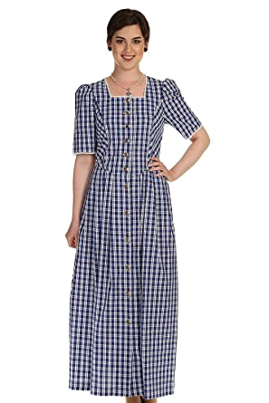 Orbis Damen Kleid Trachtenkleid Landhauskleid Kariert 55000 3315 45 Blau Gr 40